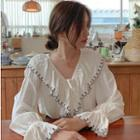 V-neck Embroidered Trim Ruffled Blouse White - One Size