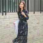 Floral Print Ruffle-hem Chiffon Dress