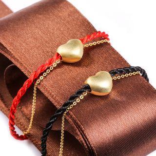 Sterling Silver Heart Pattern Braided Bracelet