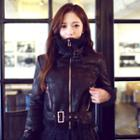 Belted Faux-shearling Biker Jacket