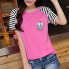 Stripe Short-sleeve Applique T-shirt