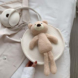 Round Bear Woven Shoulder Bag