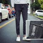 Drawstring Lettering Jeans