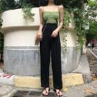 Plain Camisole Top / High Waist Wide-leg Pants