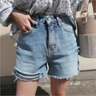 Slashed-hem Washed Denim Shorts