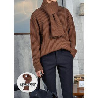 Loose-fit Rib-knit Top With Muffler