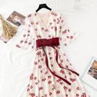 Tie-waist Floral Chiffon Maxi A-line Dress