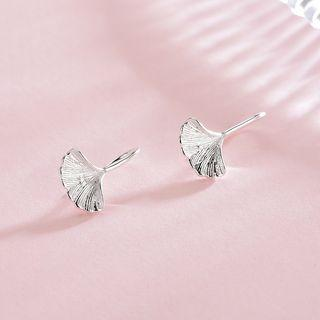 925 Sterling Silver Leaf Earring Es482-2 - 1 Pair - One Size