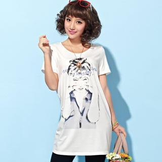 Short-sleeve Printed Long T-shirt