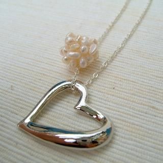 Pearl Cron Heart Shape Necklace Silver - One Size