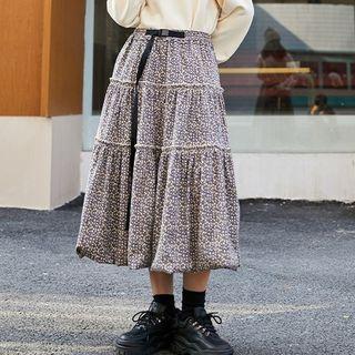 Floral Print Tiered Midi A-line Corduroy Skirt