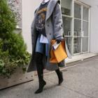 Hooded Wool Blend Wrap Coat