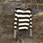 Turtleneck  Striped Knit Top