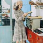 Long-sleeve Plaid Frill Trim A-line Dress