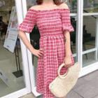 Elbow-sleeve Off Shoulder Plaid Midi Dress
