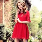 Short-sleeve Lace-panel Ruffled Dress