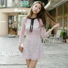 3/4-sleeve Bow-accent Lace Dress