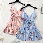 Sleeveless Ruffled Chiffon Mini Dress