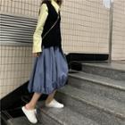 Plain Long-sleeve Shirt / Plain Knit Vest / Plain Skirt