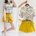 Set: Floral Print Short Sleeve Shirt + Belted Shorts