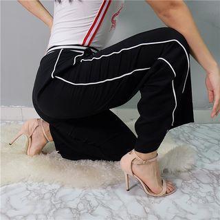 Contrast-trim Straight-leg Pants