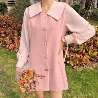 Contrast Trim Long-sleeve Blouse / Button Mini A-line Pinafore Dress