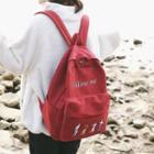 Lettering Canvas Zip Backpack