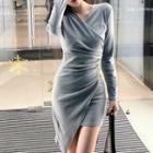 Asymmetrical Wrap Knit Dress
