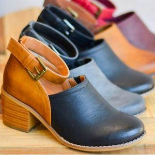 Faux Leather Ankle Strap Clogs