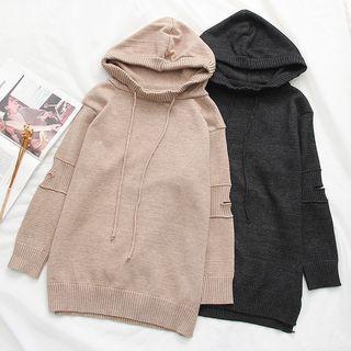 Plain Long-sleeve Knit Hoodie