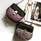 Faux Leather Glitter Crossbody Bag