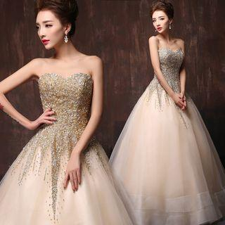 Sequined Strapless Ball Gown