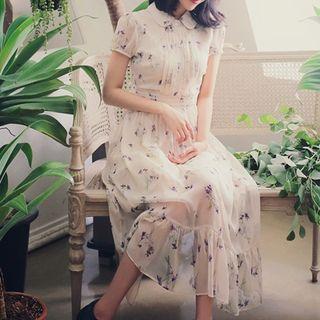 Floral Print Short-sleeve Collared A-line Chiffon Dress
