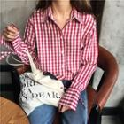 Plaid Long-sleeve Polo Shirt