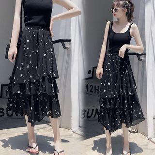Star Print Midi Tiered A-line Skirt Black - One Size