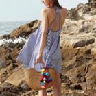 Open Back Striped A-line Halter Dress