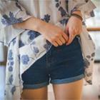 Cuff-hem Denim Shorts