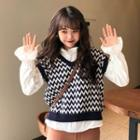Long-sleeve Top / Patterned Knit Vest