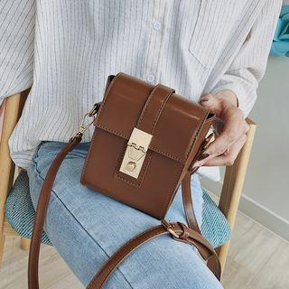 Faux Leather Push Lock Box Crossbody Bag