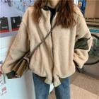 Reversible Faux Shearling Zip Jacket As Shown In Figure - One Size