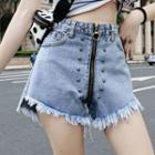 High-waist Beaded Distressed Denim Shorts