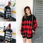 Argyle Patterned Long Sweater