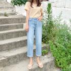 Cuff-hem Cropped Straight-cut Jeans