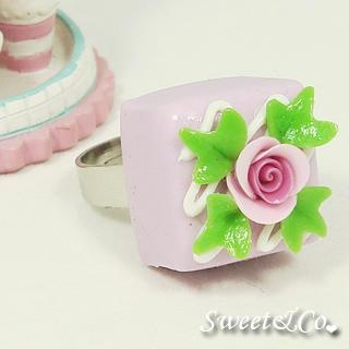 Purple Rose Chocolate Silver Ring