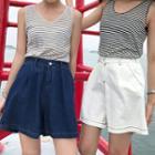Stitched Wide-leg Denim Shorts