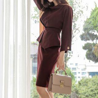 Plain 3/4-sleeve Peplum Dress