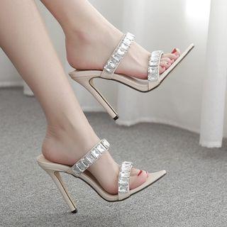Rhinestone Stiletto-heel Slide Sandals