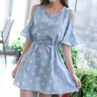 Floral Print Cutout Shoulder Frill Sleeve Dress