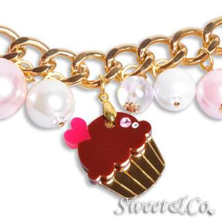 Mini Gold Chocolate Cupcake Swarovski Crystal Charm Bracelet Gold - One Size