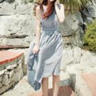 Striped Sleeveless Midi A-line Dress